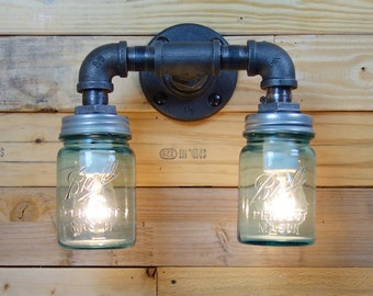 Vintage Double 1 Pint Ball Mason Jar Wall Sconce Light Black Iron Industrial Steampunk Style