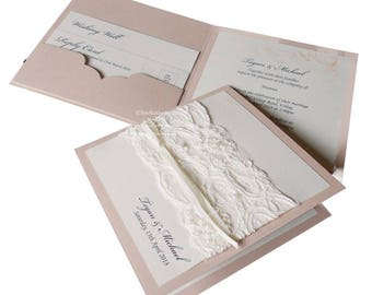 LACE wedding invitations VINTAGE Lace invitation pocketfold  25 vintage invitations. Luxury wedding invitation with pearls and beaded lace
