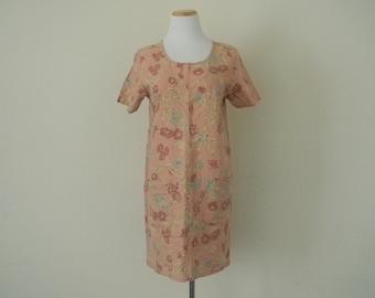 FREE usa SHIPPING vintage  80's Floral cotton slip on minimalist boho garden party size large
