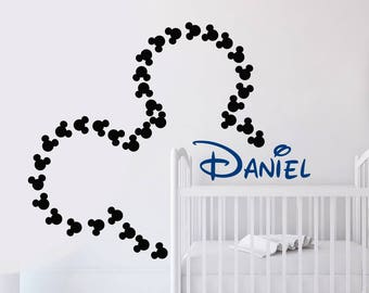 Mickey Mouse Wall Decal. Name Wall Decals. Nursery Wall Art. Mickey Mouse Name. Kids Wall Decal. Boys Name Wall Decal. Nursery Decor J698