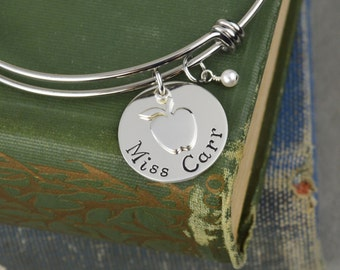 Personalized Teacher Appreciation Gift - Adjustable Bangle Bracelet with Apple Charm - Stacking Bangle