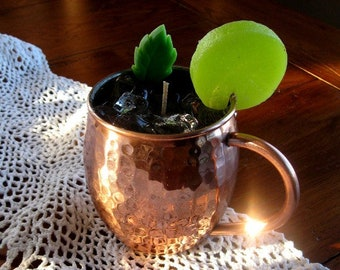Moscow Mule Hammered Copper Mug Gel Wax Candle