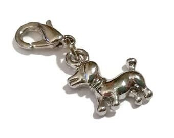 Dog Lover CHARM Silver Poodle Puppy Dog Stitch Marker Counter Doggy Planner Charm  Zipper Pull Jewelry Making Craft Supply Lobster Clasp BFF