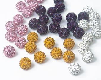 pave crystal round beads - shamballa beads supplies - spakle jewelry making beads - rhinestone beading supplies - purple beads  -20pcs