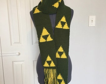 Triforce Zelda Inspired Crocheted Scarf