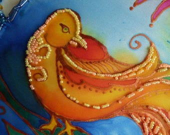 Silk Wall Hanging Tapestry Hand Painted Silk Painting, Bird in Flight Home Decor