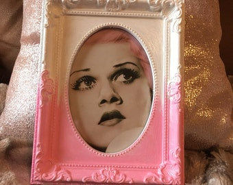 """Jean Harlow pink hair print in pink ombre frame 6x4"""""""