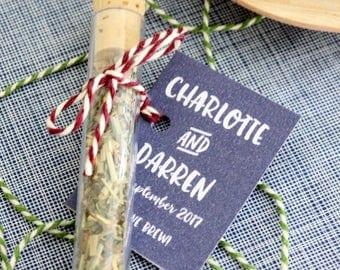 Edible Favours, Tea Wedding Favors - Personalised Custom Tea - Summer Wedding Gift - Tea Lover - Loose Leaf Green Tea Favour