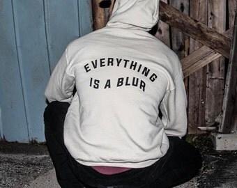 Everything is a Blur sand beige hoodie sweatshirt sweater screenprinted by always again