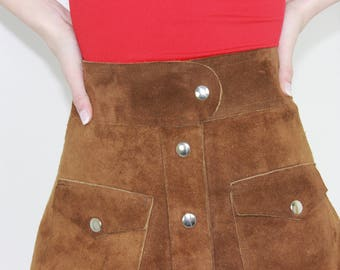 MINI SKIRT brown suede leather skirt suede skater skirt vintage 70s suede button down skirt size 28 waist medium M