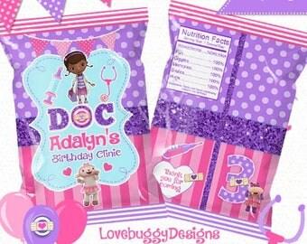 Doc Mcstuffins Treat Bag Printable , Favor Bags, Candy Bags, Chip Bags - Style 89 - YOU PRINT
