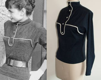 Audrey Hepburn/ Knit Sweater/ 100% Wool/ 1950s blouse/ Custom Made Top/ Women Blouse/ Blue Blouse/ Vintage Blouse
