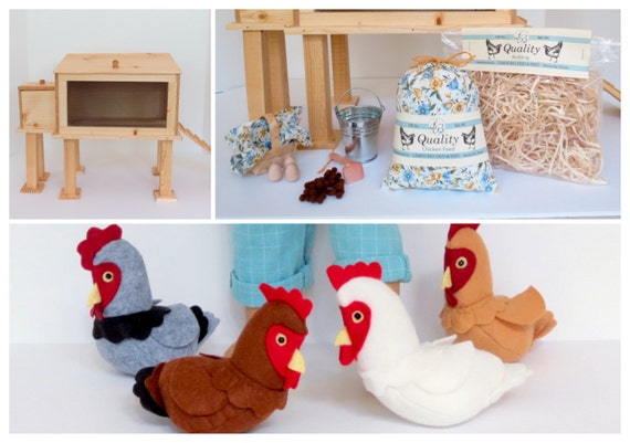 Doll DELUXE CHICKEN COOP Collection Handcrafted for 18 Inch dolls such as American Girl® Chicken Coop, Accessories, Choice of felt hen(s)