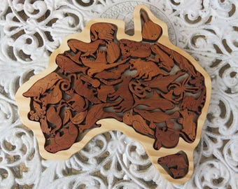 Unique Handcrafted Wooden Australian Animal puzzle - 26cm x 25cm made from Australian Wood ORDERS TAKEN!