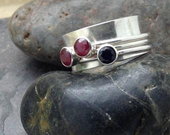 Sterling Silver Spinner, Figit Multi-Ring Bezel Set Gemstone Ring
