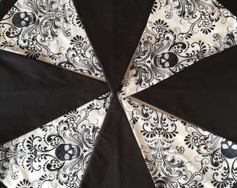 Skull Bunting | Black and White Skulls |  Banner | Flags | Bunting