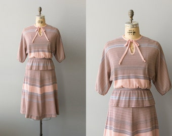 First Date dress   1970s pink striped 2 piece set   70s preppy dress