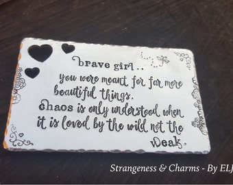 Hand Stamped Zachry K Douglas Poetry 'Love Note', Brave Girl, Poem,Quotes, Couples Gift, Wallet Insert, Inspirational Quote, Wild not Weak.