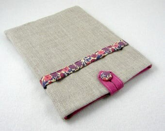 Linen tablet case, linen and liberty cover,Kindle voyage case, iPad sleeve with pocket, tablet cover, reader sleeve
