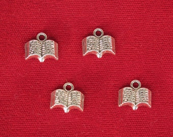 """10pc """"book"""" charms in silver style (BC1198)"""
