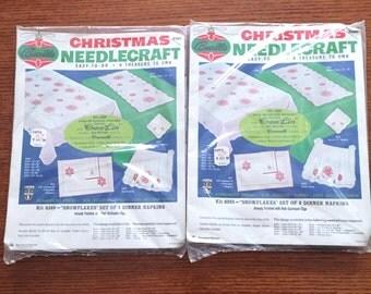 Vintage Bucilla Needlecraft Christmas Napkin Kit (only one kit left)