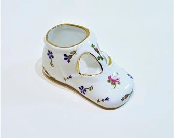 Nantucket Porcelain Baby Shoe in Floral Pattern, Keepsake Newborn Collectible Gift, Vintage Baby Shower Keepsake Gift, Made in China