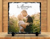 Slate Sign - Wedding Photo Plaque, Wedding Photo Sign, Monogram Name, Wedding Keepsake - Home Decor, Custom Personalized Slate Plaque Gift
