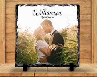 Slate Sign - Wedding Photo Plaque, Wedding Photo Sign, Monogram Name, Wedding Keepsake - Home Decor, Custom Personalized Slate Plaque Gift
