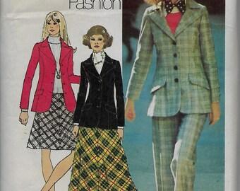 Simplicity 5212    Miss Vntg Blazer, Bias-Skirt and Pants      Size 10     C1972