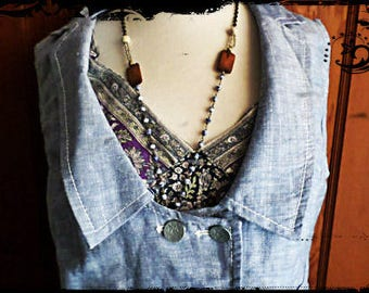 Sweet Blue and lace cotton vest