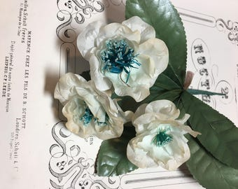 Old vintage millinery flowers blue