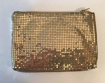 Gold metal mesh purse,small,coin purse,clutch