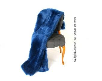 Luxurious Faux Fur Throw Blanket Dark Cobalt Royal Navy Blue Shag Llama Sheepskin Silky Soft Minky Cuddle Fur Back - Fur Accents Designs USA