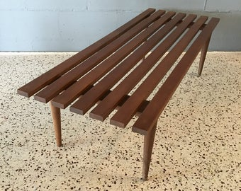 Mid Century Modern Slat Bench or Coffee Table