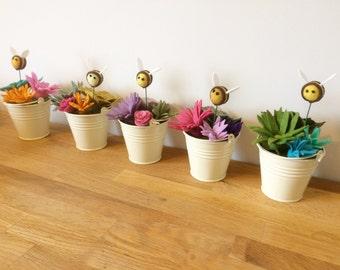 Felt Succulent and Bee Pot