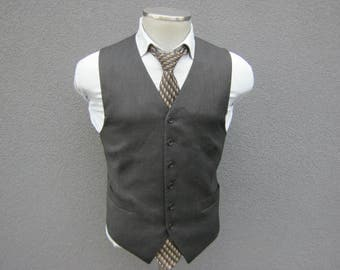 Charcoal Gray Vest Size 36 Small / Wool Waistcoat with Bemberg Lining / Wool Waist Coat / Made in Italy / Wedding & Party / Gift for Him