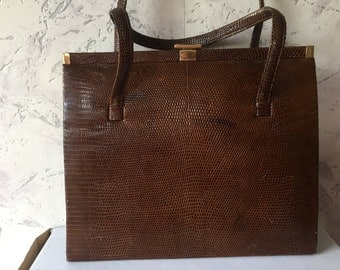 Beautiful brown Authentic Vintage Real Snakeskin Kelly Bag
