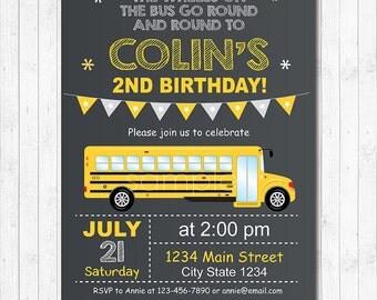 School Bus Invitation,| School Bus Birthday, School bus party, Boys Birthday, chalkboard, printable