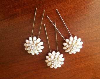 Gold and Ivory Flower Bead Hairpins