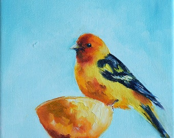 Western Tanager Impressionist Bird, Original Oil Painting, Colorful Bird Art  6x6 Inch