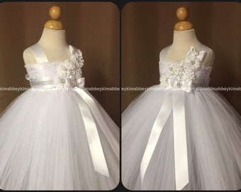 Flower girl tutu dress in white
