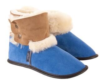 Reversed Sheepskin and Suede Booties - Limoges