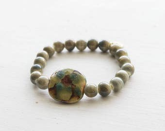 Handpainted Clay and Stone Stretch Bracelet
