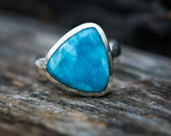 Larimar Ring Size 8 Deep Blue Larimar Ring -  Sterling Silver Larimar ring - Genuine Larimar - Larimar Ring - Blue Pectolite Ring - Larimar