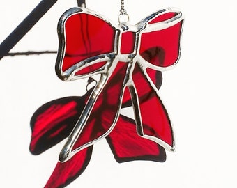 Christmas Ornament Stained Glass Red Bow Holiday Decor Christmas Bow Christmas Decoration Bow Window Ornament Red Stained Glass Bow Ornament