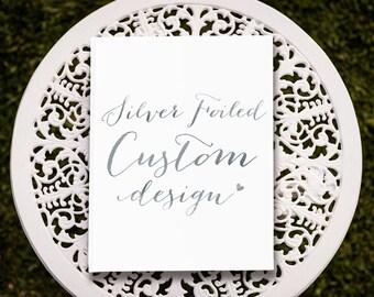 Custom Silver Foil Wedding Guest Book, Silver Wedding Guest Book, Silver Guest Book, Bridal Guest Book