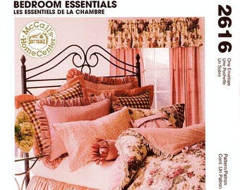 MCCALL'S Home Decorating Bedroom Essentials 2616 – Bedroom Essentials - Quilt, Dust Ruffle, Pillows, Shams and More-Uncut and Factory Folded