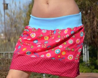 Mini skirt, bubble skirt, balloon skirt, wine red,pink,flowers