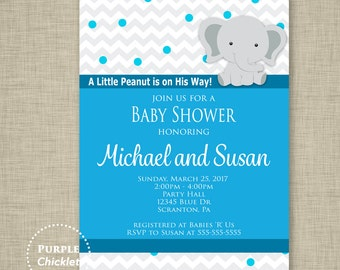 Blue Baby Shower Invite A Little Peanut Elephant Invite Boy Baby Shower Invite Dots Sprinkles Invite 5x7 Printable JPEG file 33a