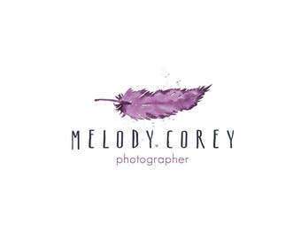 Pre Made  Watermark Business Logo - Watercolor, Purple, Feather, Drawn, Artistic - Shop Logo - Watercolour - Branding - Brand, Photography